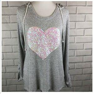 Sequin Heart Hooded Top💕